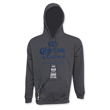 Corona Extra Men's Gray Beer Pouch Pullover Hoodie