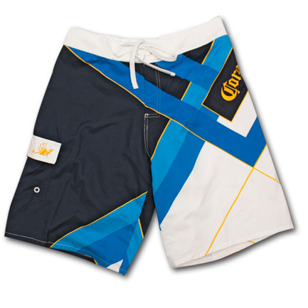 Corona Blue & White Striped Mens Board Shorts