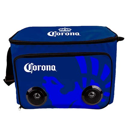 Corona Blue Soft Cooler Bag With Built In Bluetooth Speakers