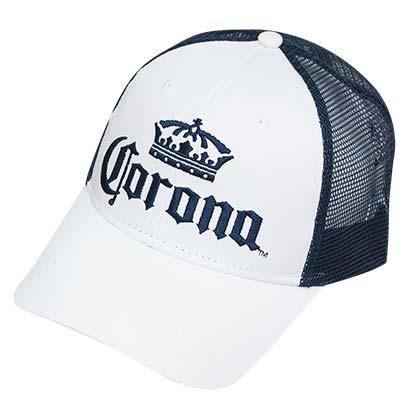 Corona Extra Mesh White & Blue Snapback Hat