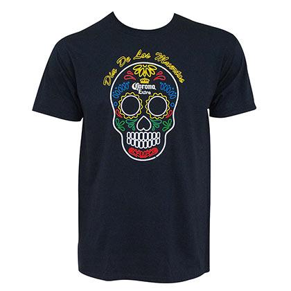 Corona Extra Men's Blue Dia De Los Muertos Sugar Skull T-Shirt