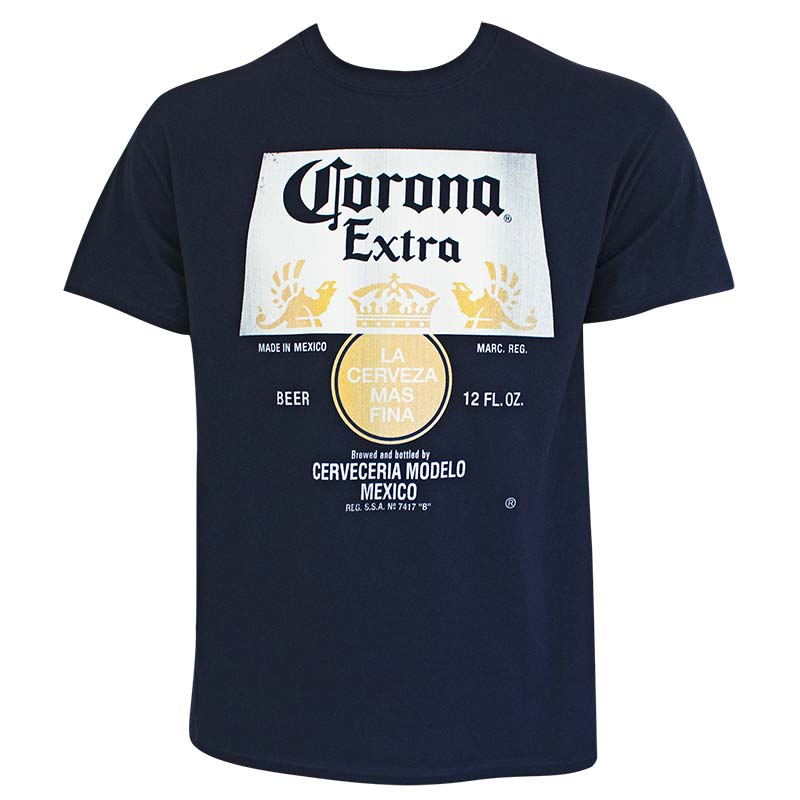 Corona Extra Distressed Bottle Label Logo Navy Blue Tee Shirt