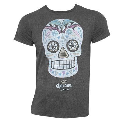 Corona Extra Skull Logo Grey Tee Shirt