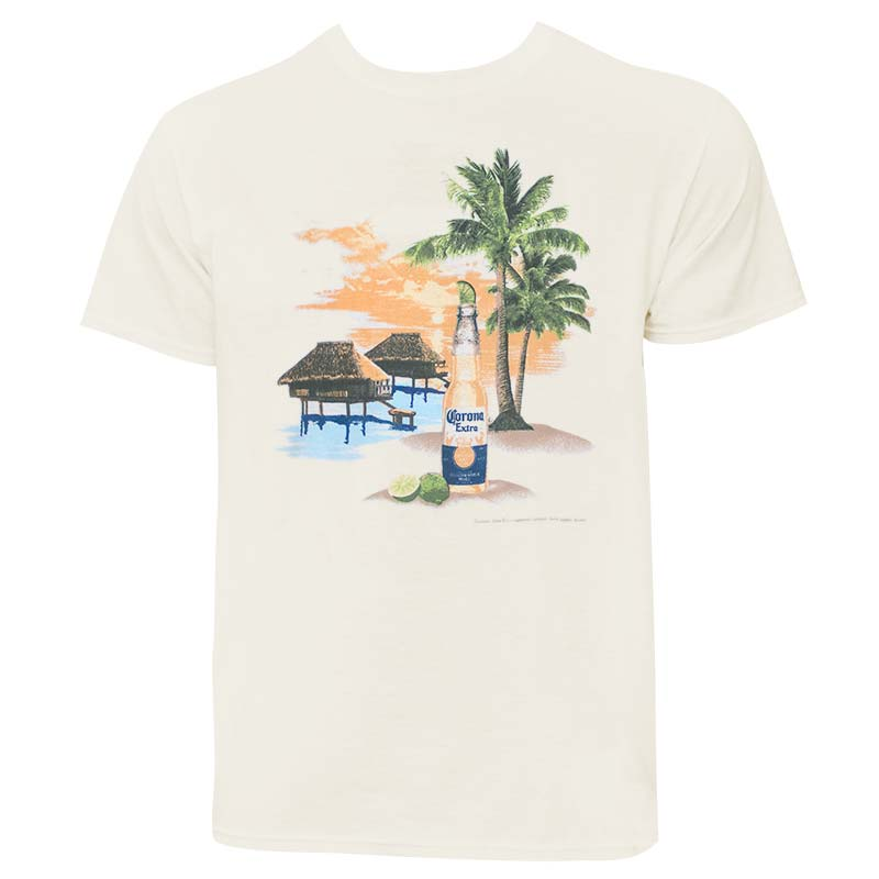Corona Beach Scene Men's Ivory Tee Shirt