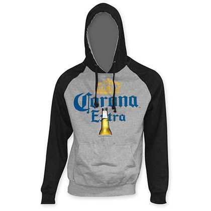 Corona Extra Men's Black Sleeve Beer Pouch Hoodie