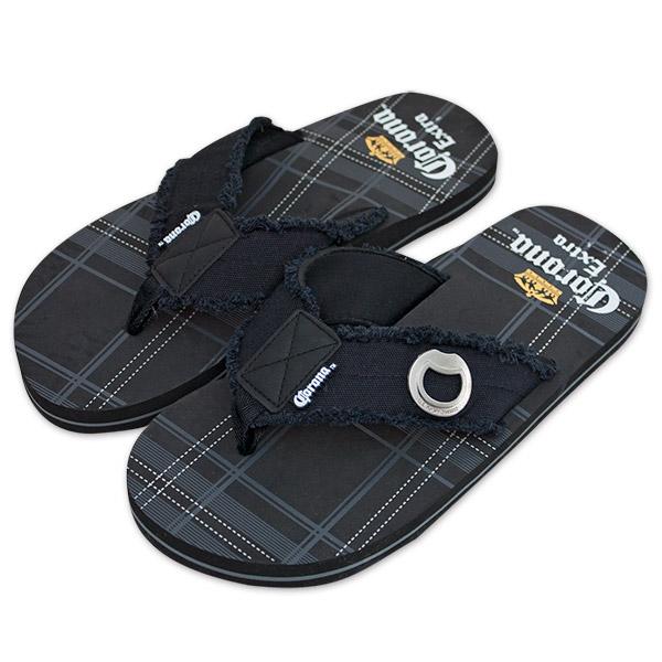93fc3a39a8f5 Corona Black Plaid Flip-Flops