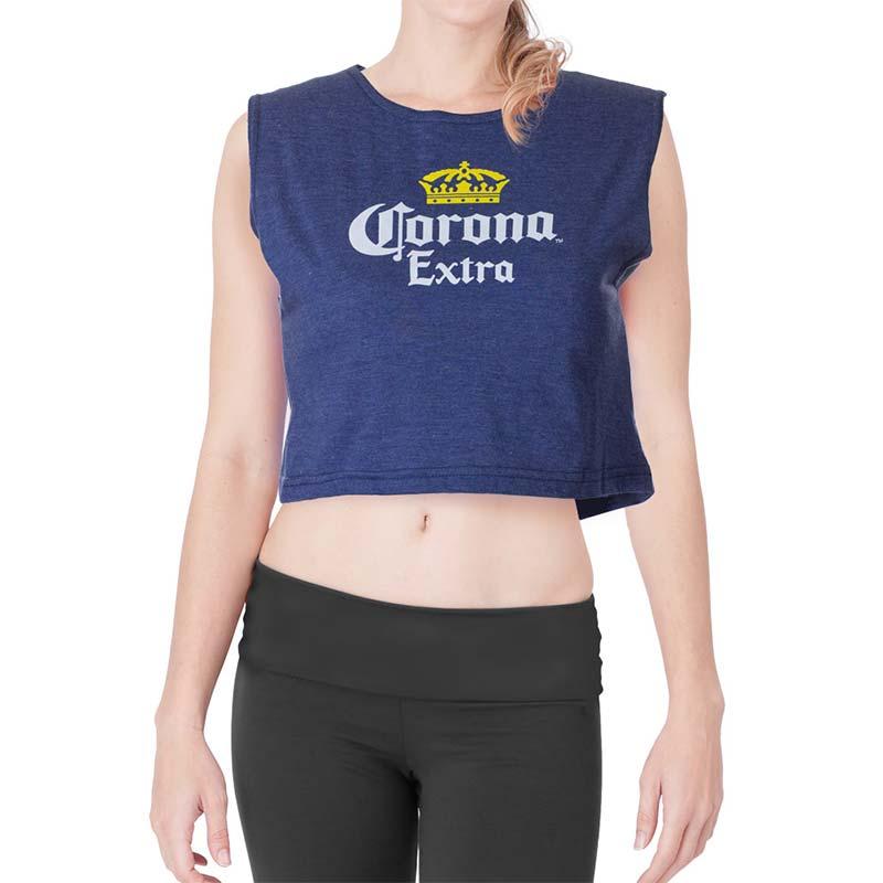 029eeed6bb4b4 Corona Extra Crop Top Navy Blue Ladies Tee Shirt