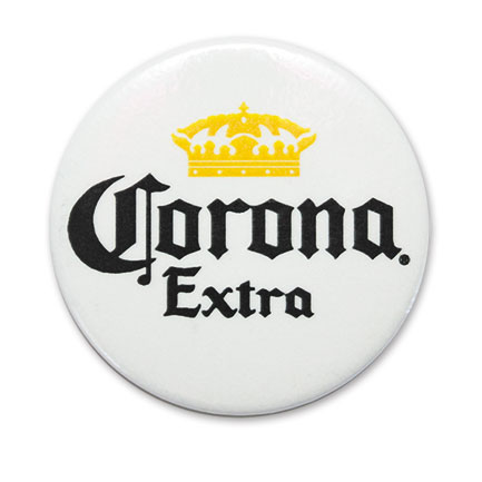 Corona Extra Pinback White Button