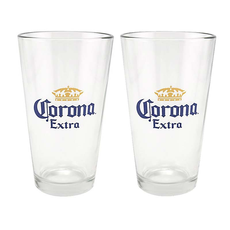 Corona extra beer logo 2 pack pint glasses for How to make corona glasses