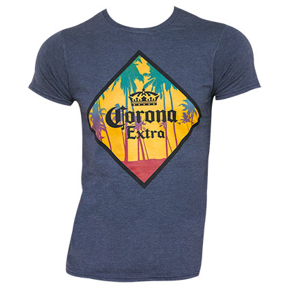 Corona Extra Men's Blue Palm Tree T-Shirt