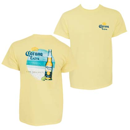 Corona Extra Find Your Beach Front Back Men's Yellow T-Shirt