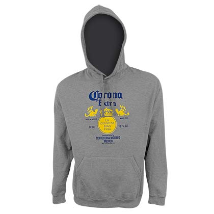 Corona Extra Logo Men's Grey Hoodie Sweatshirt