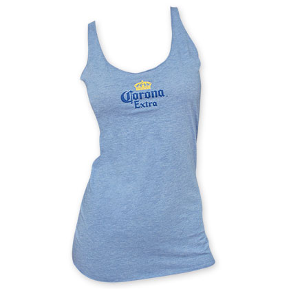 Corona Extra Racerback Women's Light Blue Beer Logo Tank Top