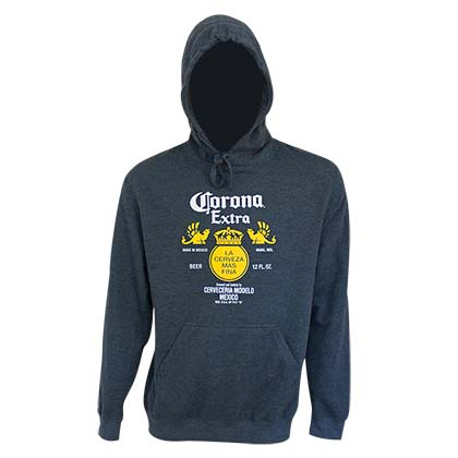 Corona Extra Bottle Label Navy Blue Hoodie