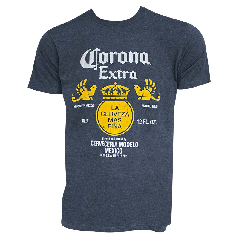 f39e1852e5c Corona Extra Men s Heather Blue Bottle Label Logo T-Shirt