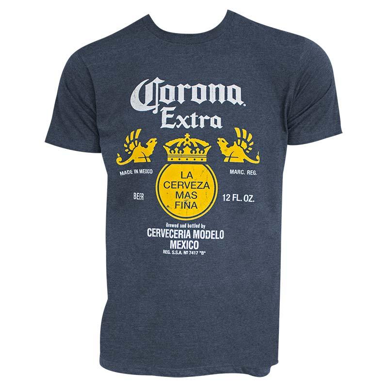 Corona Extra Bottle Label Heather Blue Tee Shirt