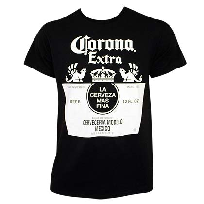 Corona Extra Black & White Bottle Label Tee Shirt