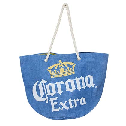 Corona Extra Logo Beach Blue Tote Bag