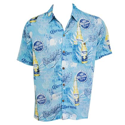Corona Bottles Short Sleeve Button Up Aloha Shirt