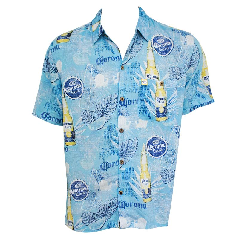 Corona Bottles Leaves Short Sleeve Men's Button Up Aloha Shirt