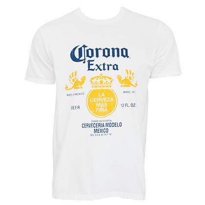 Corona Extra Bottle Label White T-Shirt
