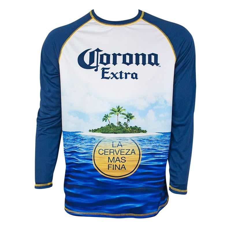 fcfb2af7d3 Corona Extra Men's Navy Blue Long Sleeve Rash Guard T-Shirt