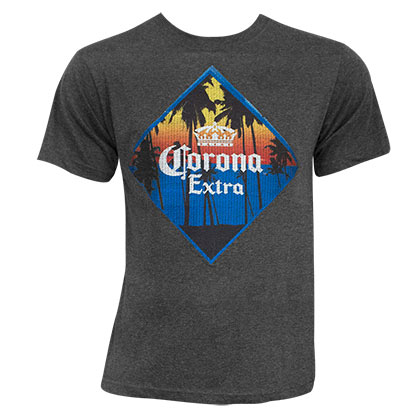 Corona Extra Men's Charcoal Embroidered T-Shirt