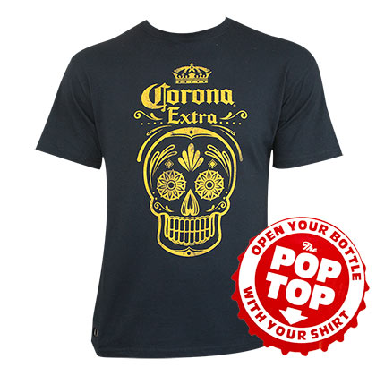 Corona Extra Men's Navy Blue Pop Top Bottle Opener T-Shirt