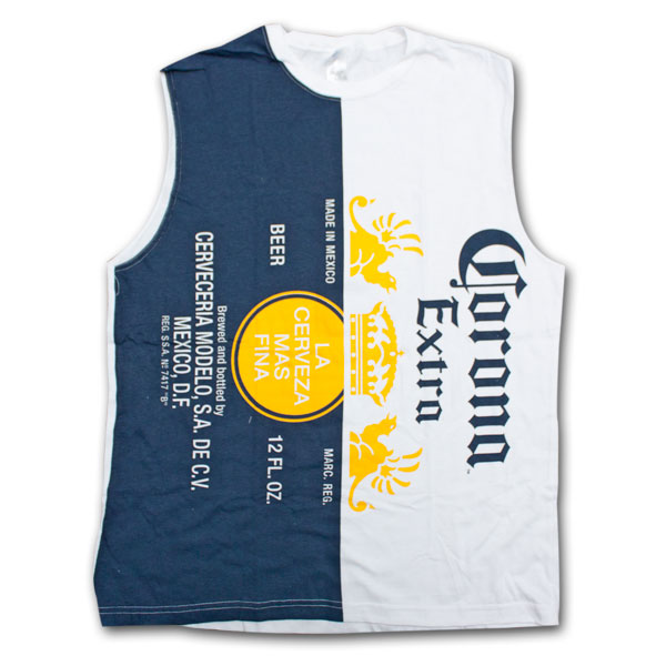 Corona Extra Vertical Logo Label White Sleeveless Tank Graphic Tee Shirt