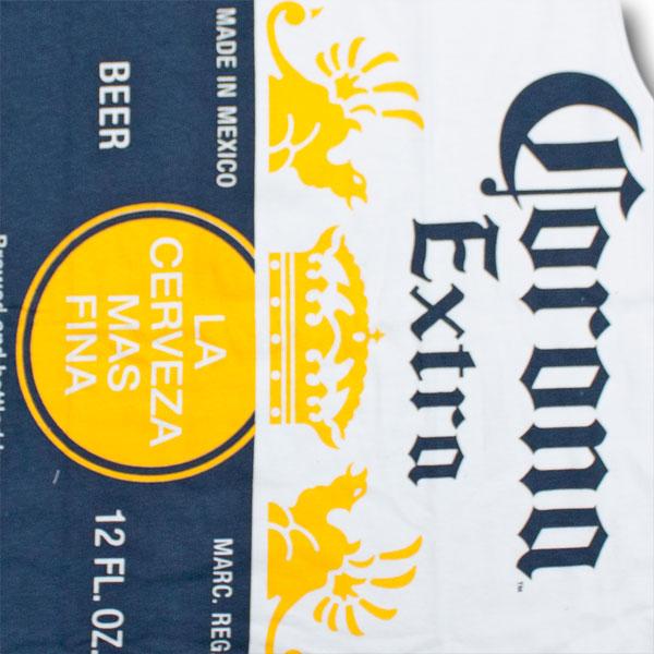 Corona Extra Vertical Logo Label White Sleeveless Tank Graphic Tshirt