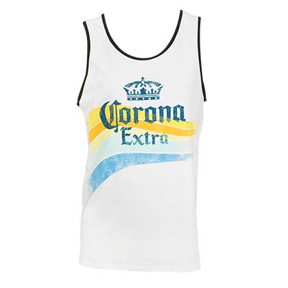 Corona Extra Men's White Waves Tank Top