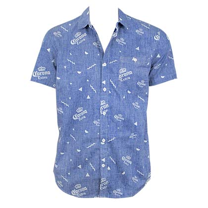 Corona Extra Men's Blue Button Down Corona Extra