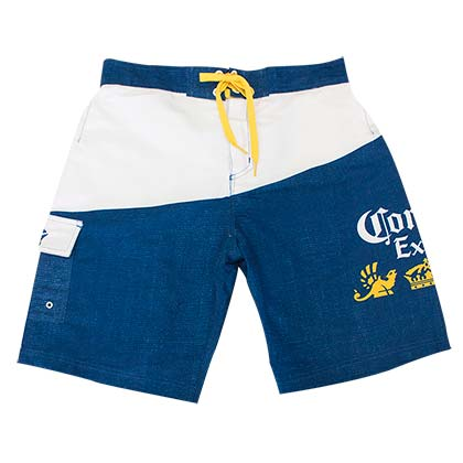 Corona Extra Blue & White Hatched Board Shorts