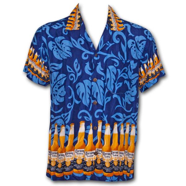 Corona Extra Bottle Aloha Hawaiian Shirt