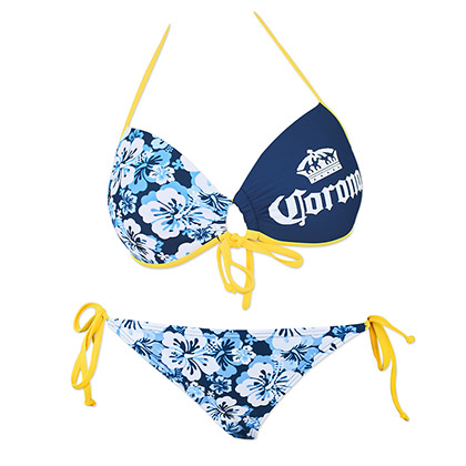 Corona Extra Women's Push Up Sweet Heart Bandeau String Bottom Floral Bikini