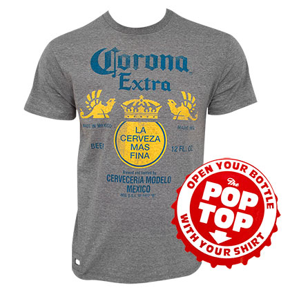 Corona Extra Men's Grey Bottle Label Pop Top Bottle Opener T-Shirt