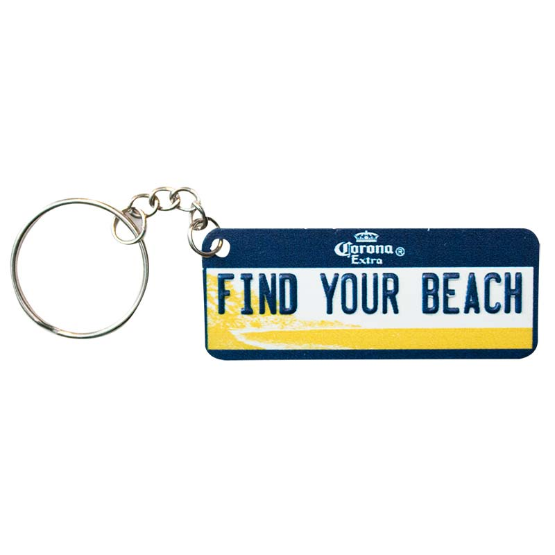 Corona Extra Find Your Beach License Plate Keychain