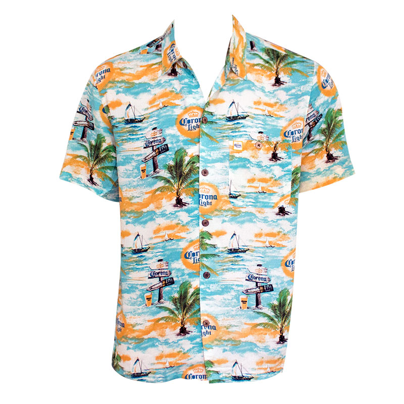 Corona Light Where's The Beach Men's Aloha Button Up Shirt