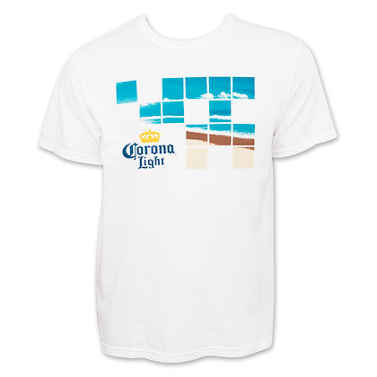 Corona Light Men's White Beach Squares Tee Shirt