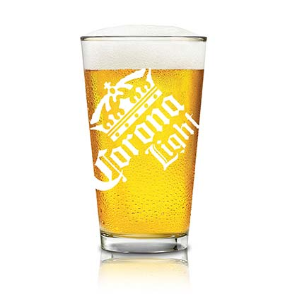 Corona Light White Logo Pint Glass