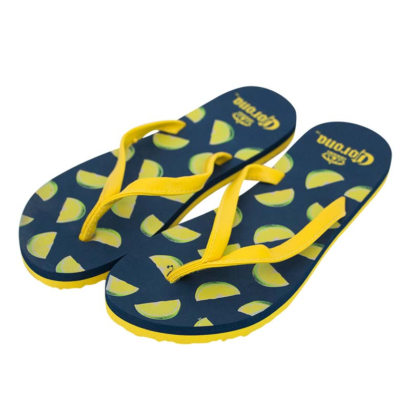 Corona Extra Blue Lime Ladies Yellow Strap Flip Flops