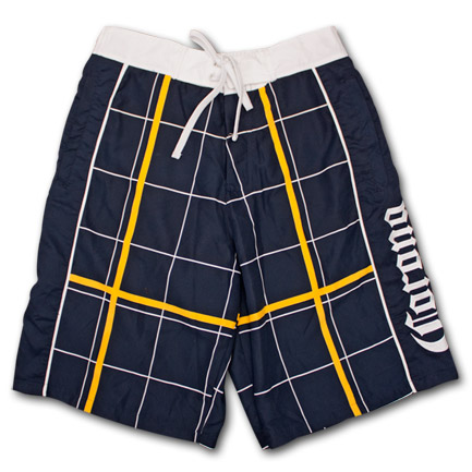 Corona Navy Blue Plaid Mens Boardshorts