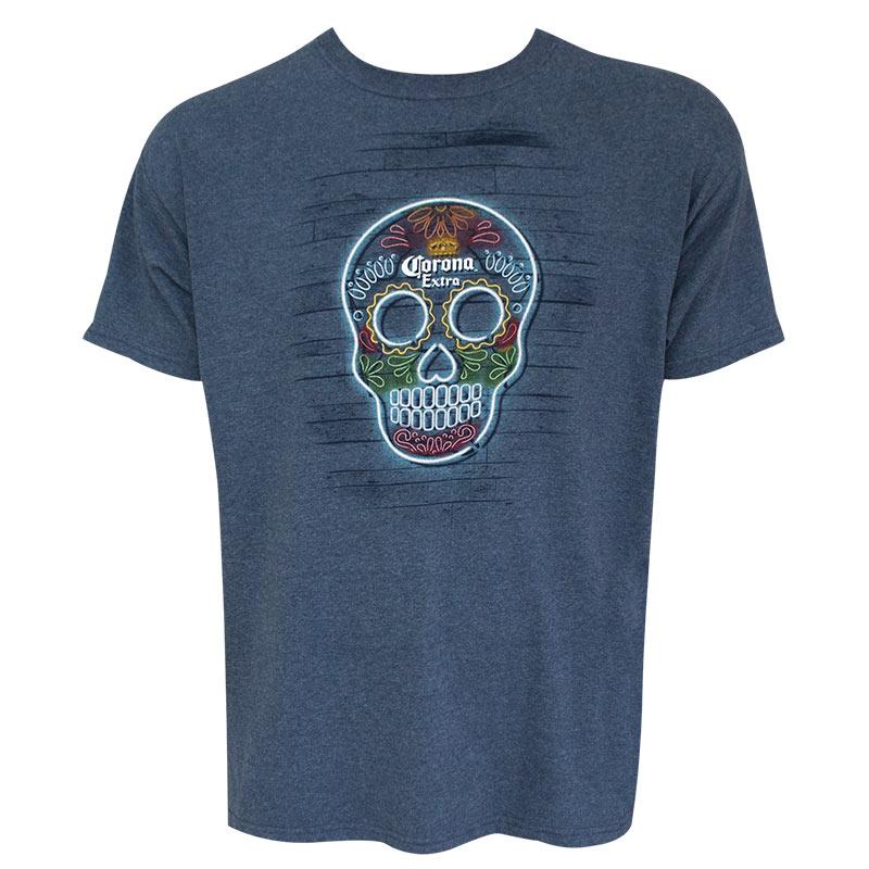 Corona Extra Skull Logo Heather Blue Tee Shirt