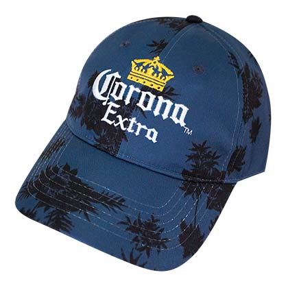 Corona Extra Navy Blue Palm Tree Floral Adjustable Hat