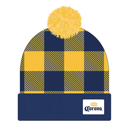Corona Football Plaid Winter Pom Hat