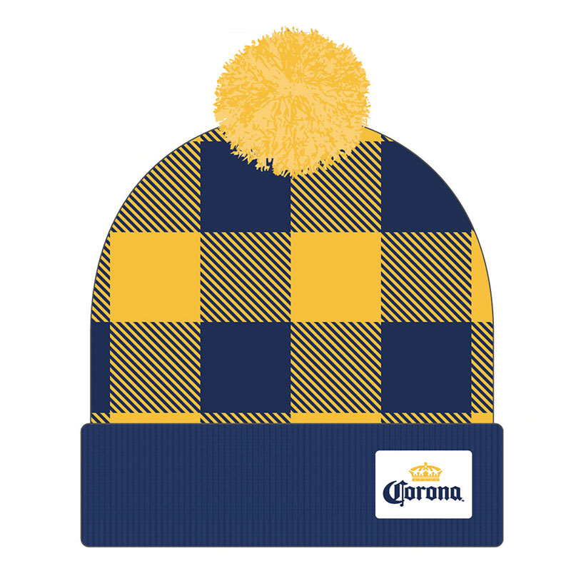 Corona Football Plaid Winter Pom Hat
