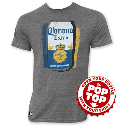 Corona Extra Men's Grey Can Logo Pop Top Bottle Opener T-Shirt