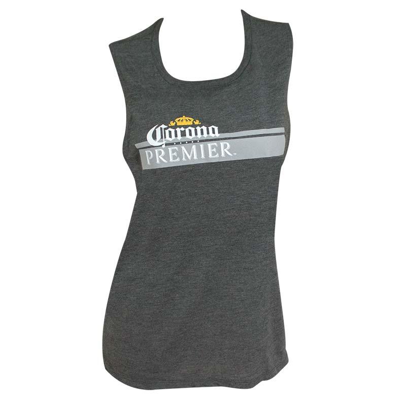 Corona Premier Stripe Logo Women's Grey Muscle Tank Top