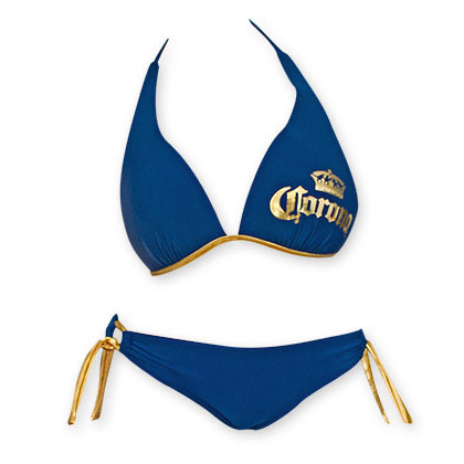 Corona Extra Women's Push Up Halter Loop Side Tie Bottom Bikini