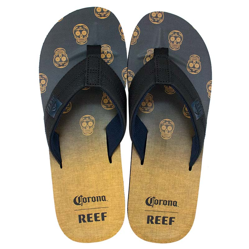 Corona Reef Men's Bottle Opener Sugar Skulls Yellow And Black Sandals